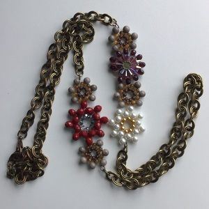 Vintage Fall Flowers copper Chain Necklace